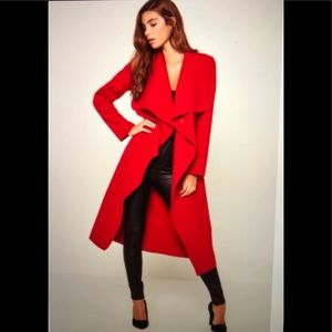 Missguided Waterfall Duster in Red